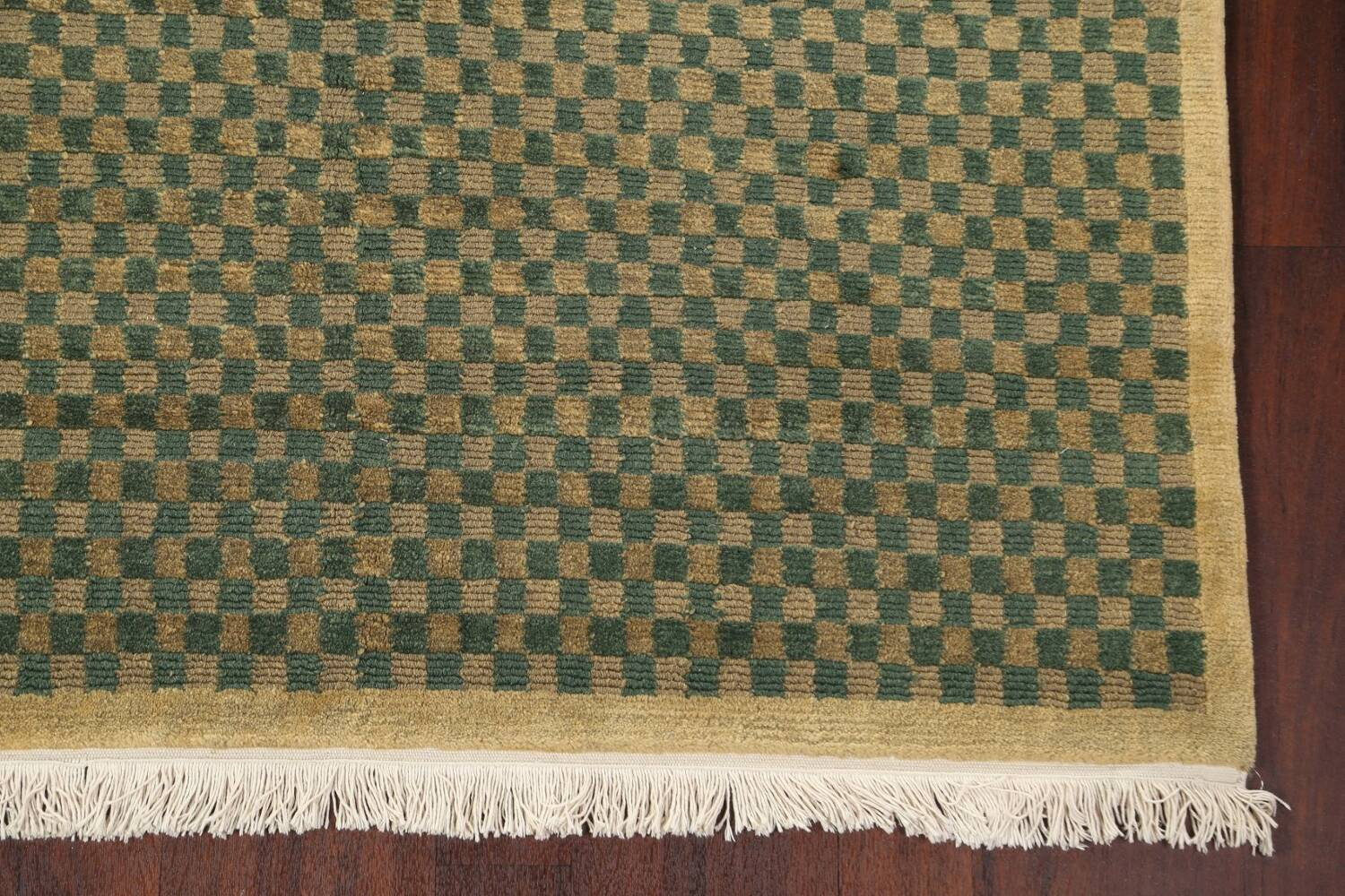 Green/ Gold Checkered Nepalese Wool Area Rug 6x9 image 7
