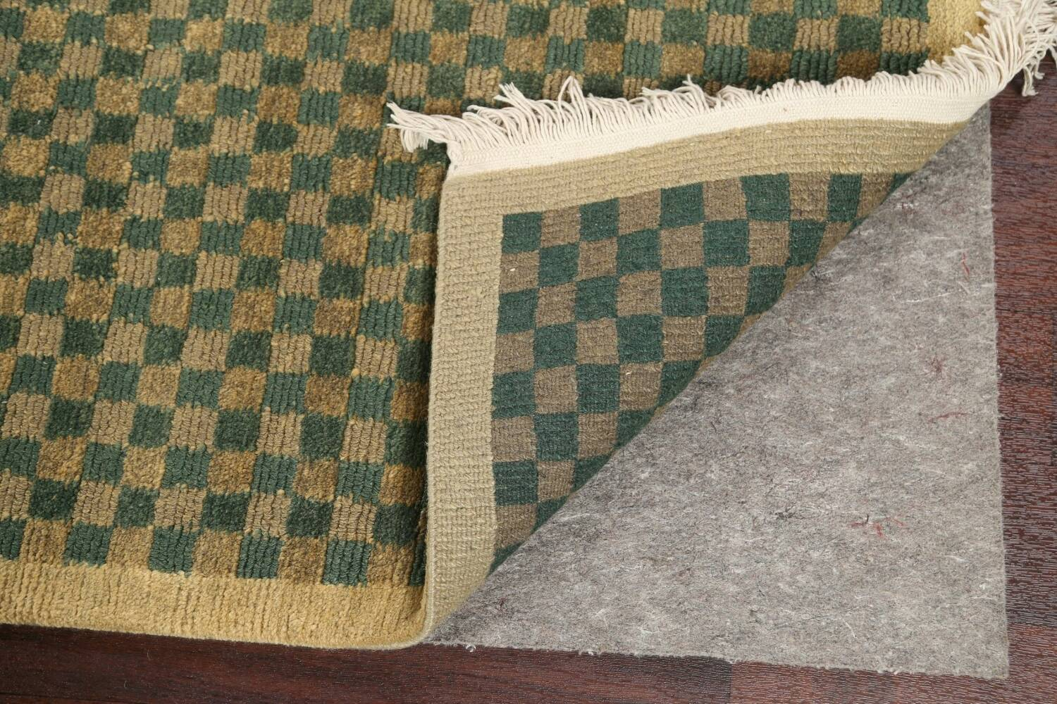 Green/ Gold Checkered Nepalese Wool Area Rug 6x9 image 8
