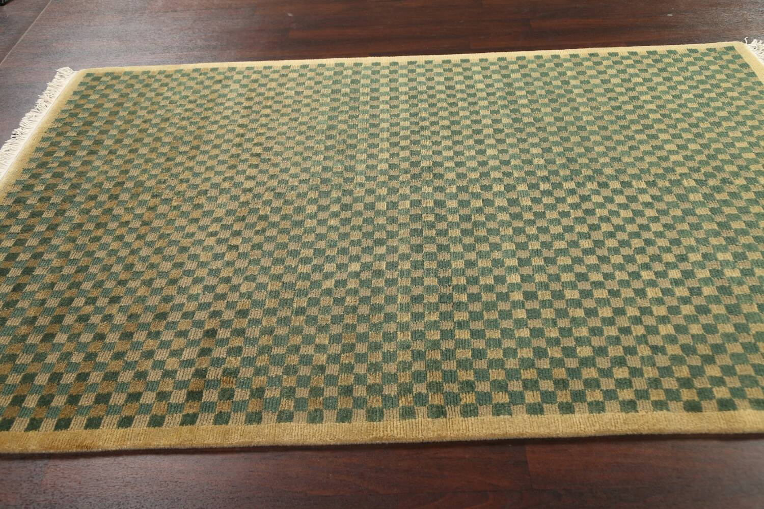 Green/ Gold Checkered Nepalese Wool Area Rug 6x9 image 13