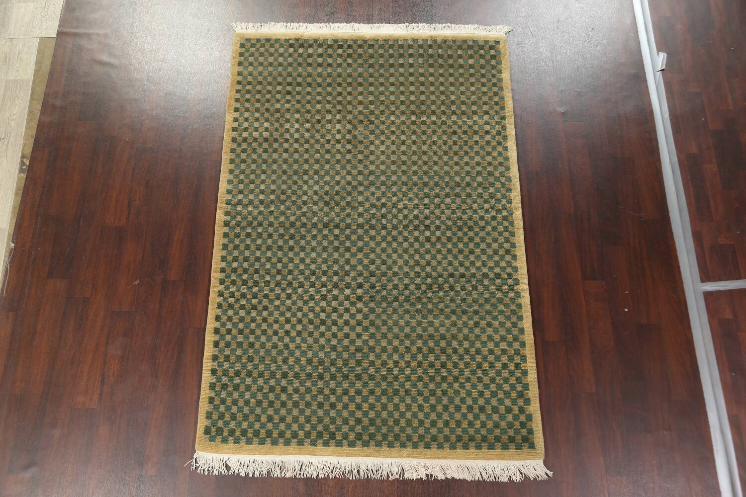 Green/ Gold Checkered Nepalese Wool Area Rug 6x9 image 14