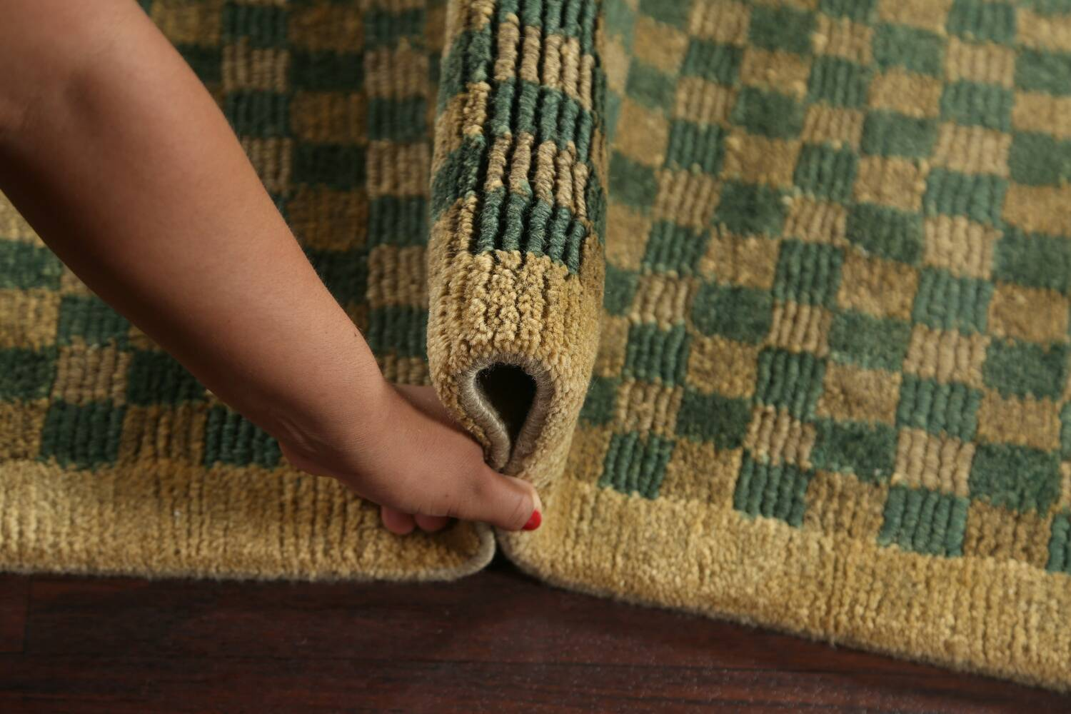 Green/ Gold Checkered Nepalese Wool Area Rug 6x9 image 17