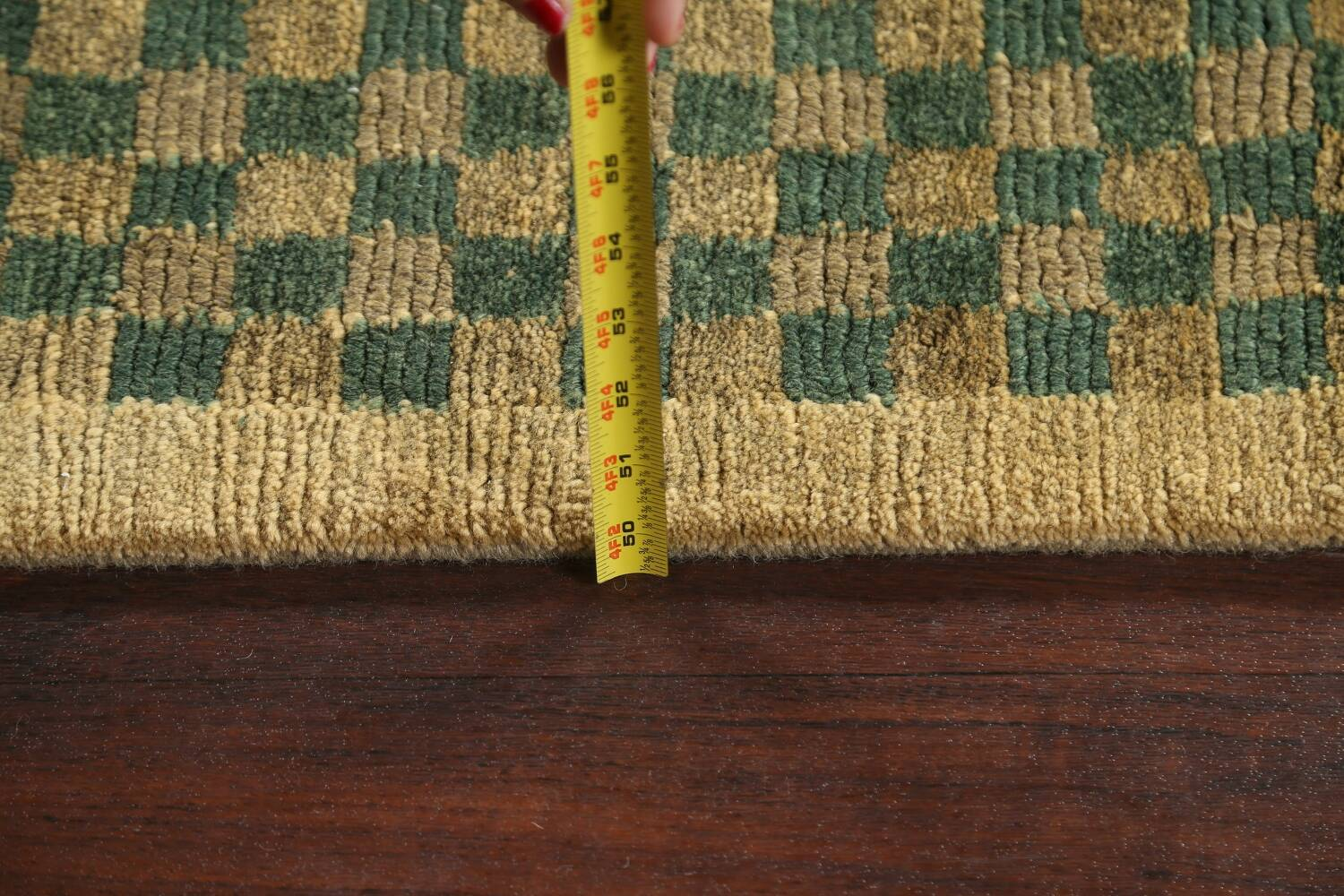 Green/ Gold Checkered Nepalese Wool Area Rug 6x9 image 18