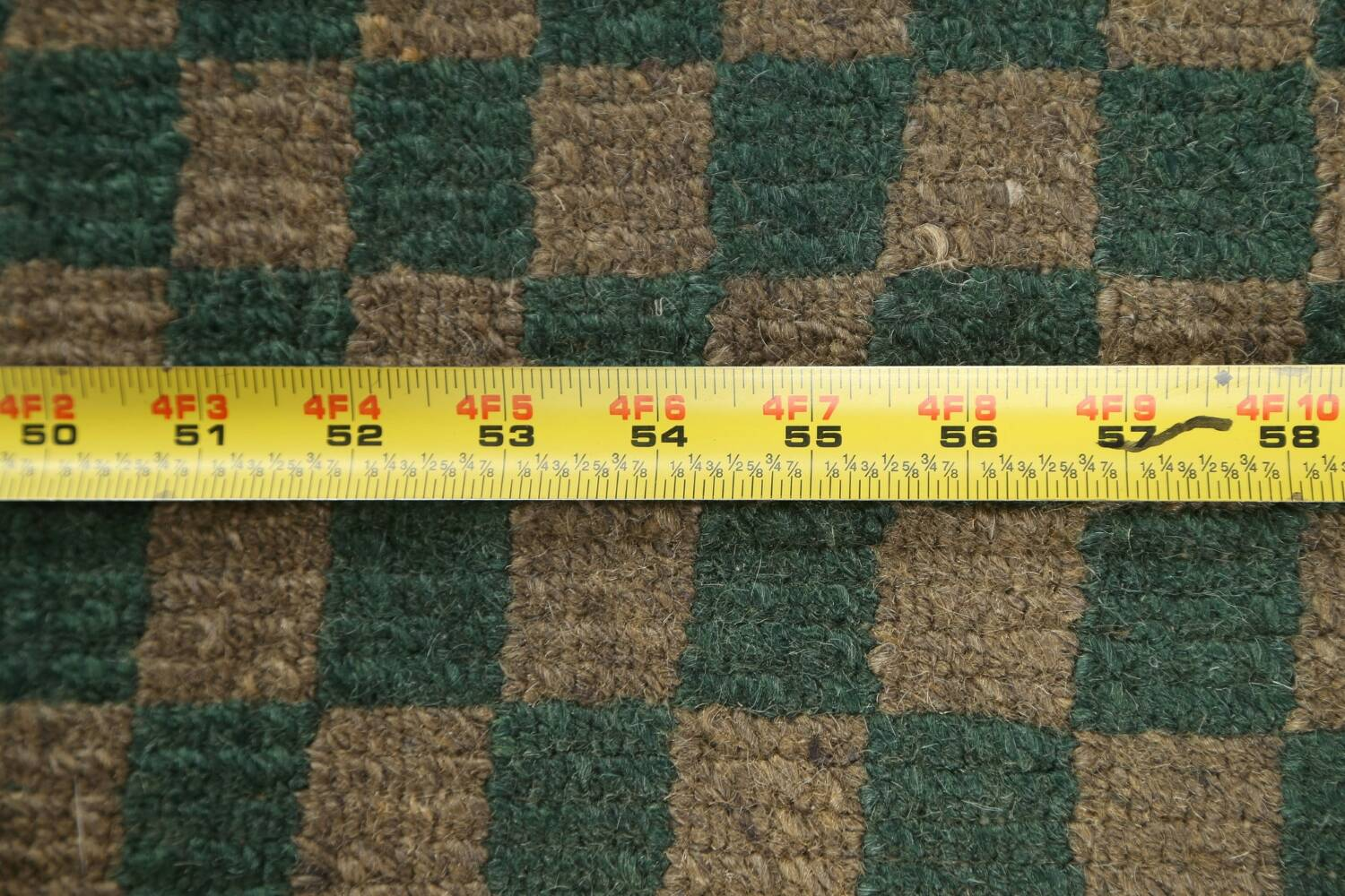 Green/ Gold Checkered Nepalese Wool Area Rug 6x9 image 19