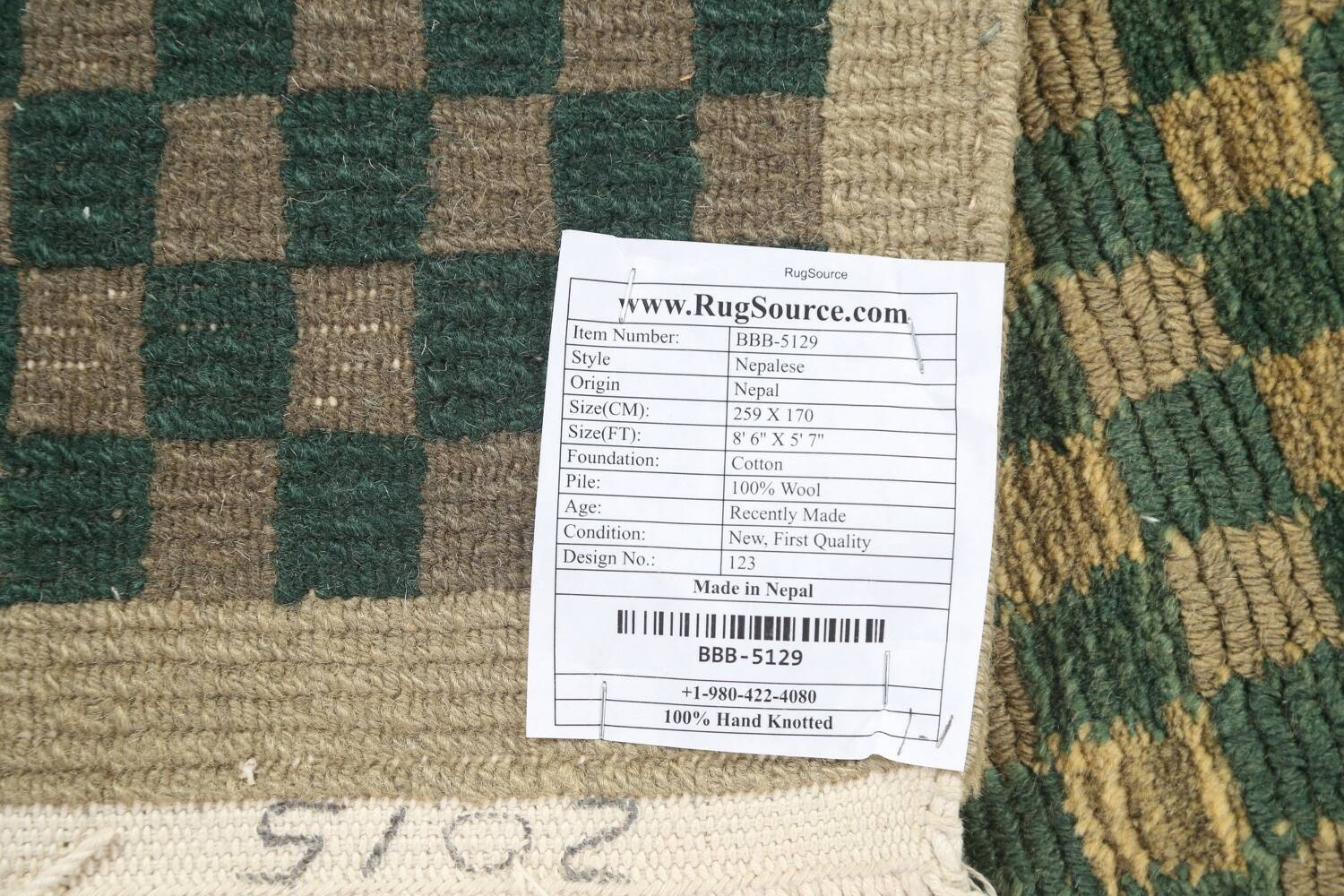 Green/ Gold Checkered Nepalese Wool Area Rug 6x9 image 20