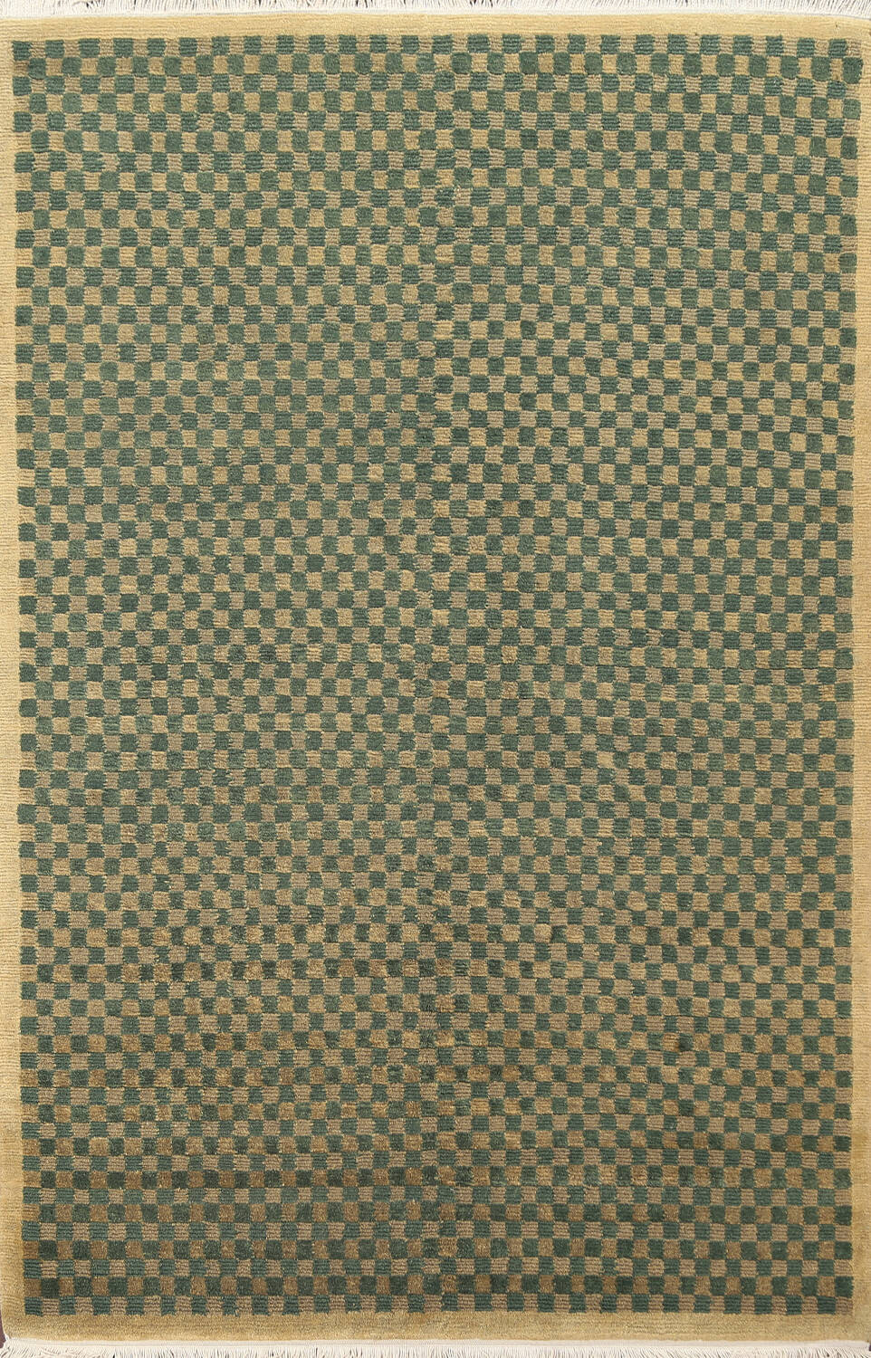 Green/ Gold Checkered Nepalese Wool Area Rug 6x9 image 1