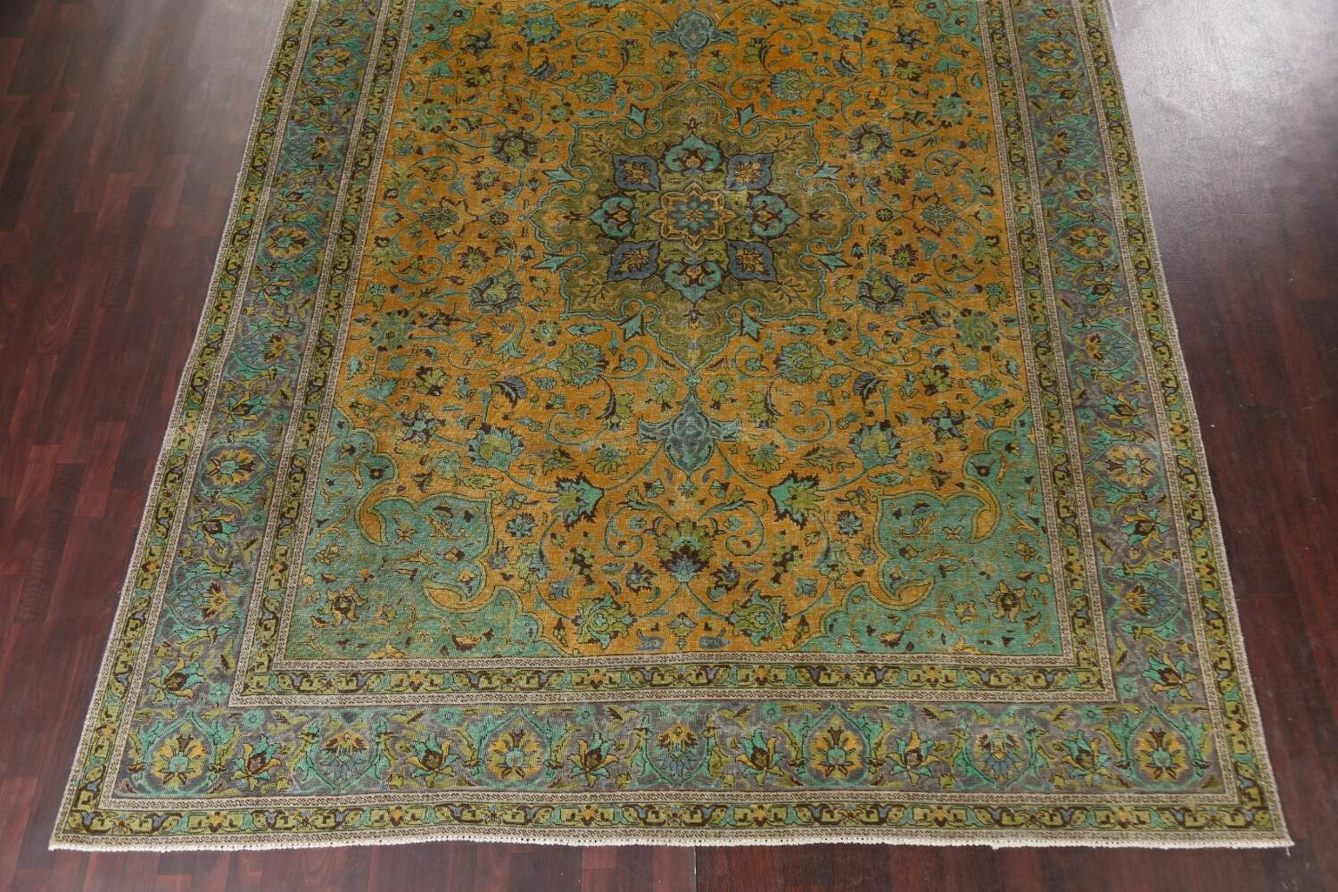 Distressed Over-Dye Kashan Persian Area Rug 10x13 image 6