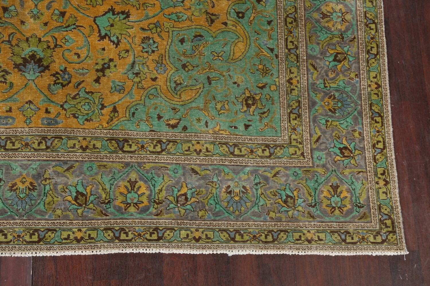 Distressed Over-Dye Kashan Persian Area Rug 10x13 image 7