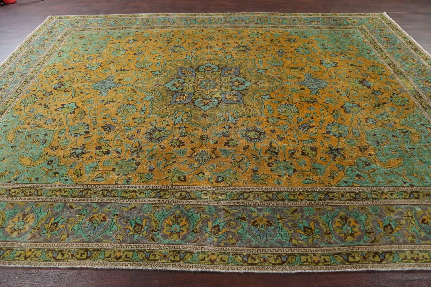 Distressed Over-Dye Kashan Persian Area Rug 10x13 image 15