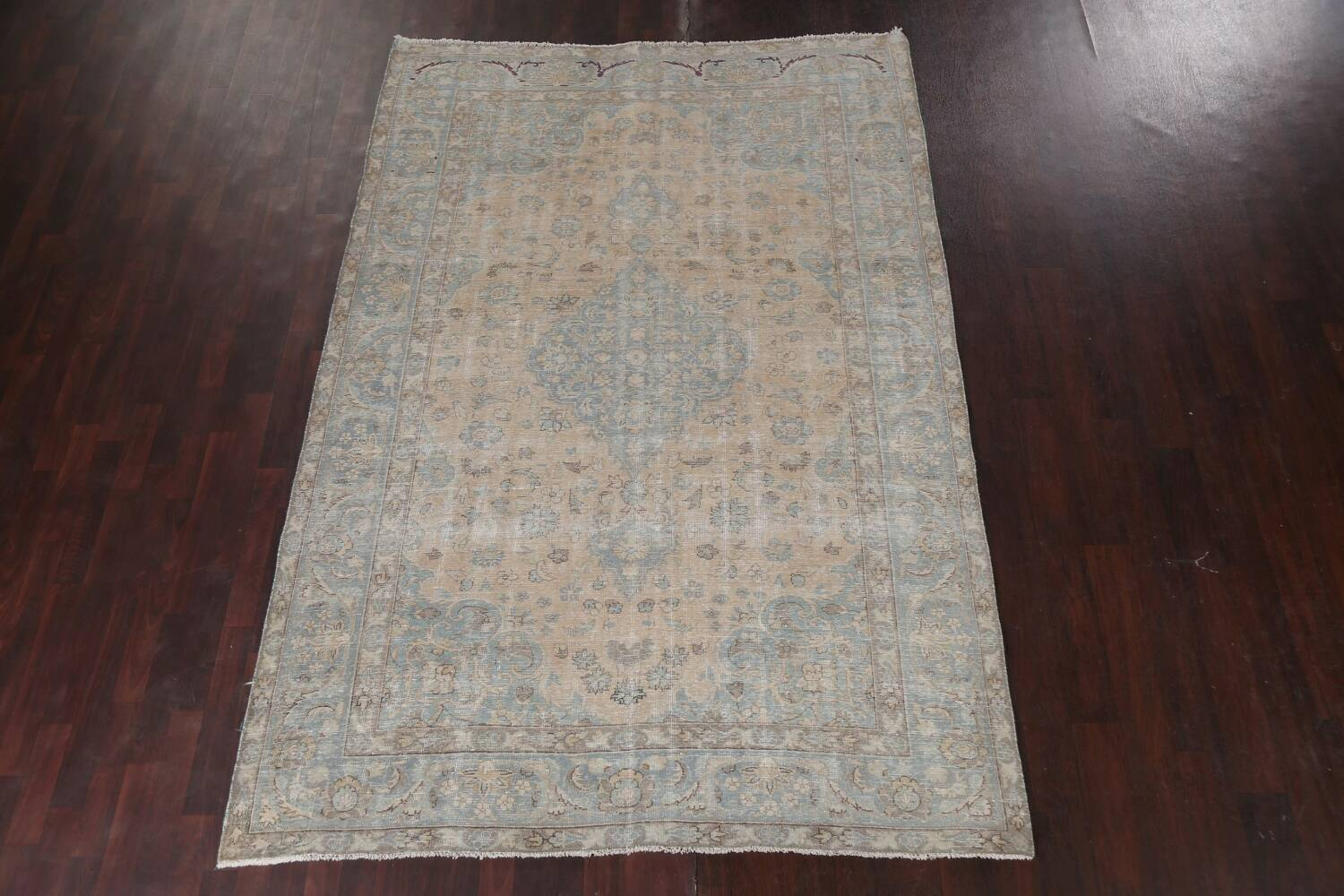Muted Distressed Mashad Persian Area Rug 7x10 image 3