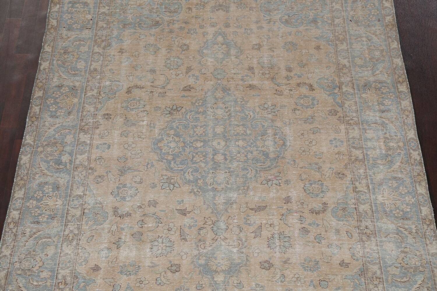 Muted Distressed Mashad Persian Area Rug 7x10 image 4