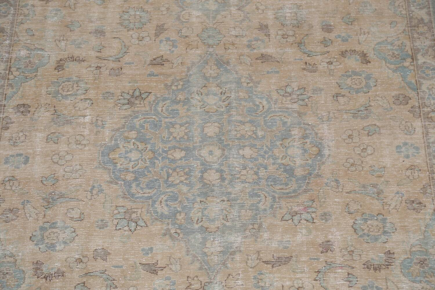 Muted Distressed Mashad Persian Area Rug 7x10 image 5