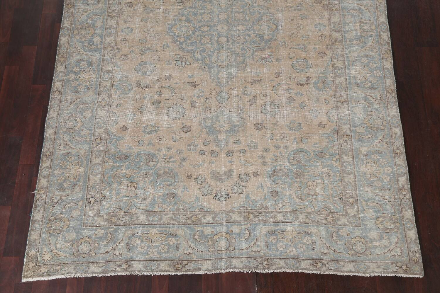 Muted Distressed Mashad Persian Area Rug 7x10 image 6