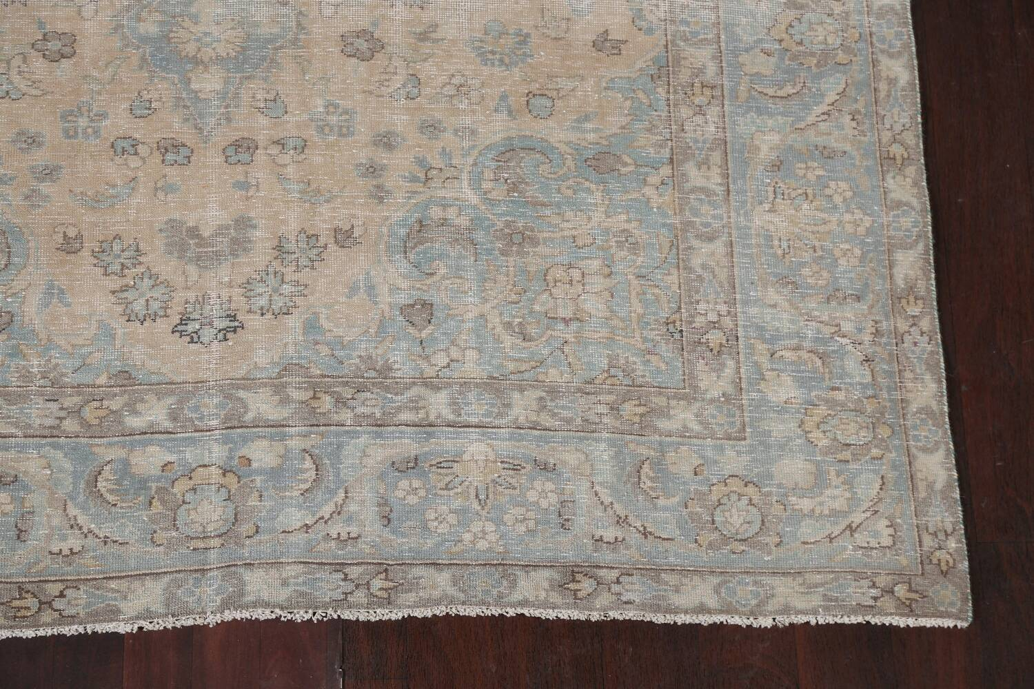 Muted Distressed Mashad Persian Area Rug 7x10 image 7