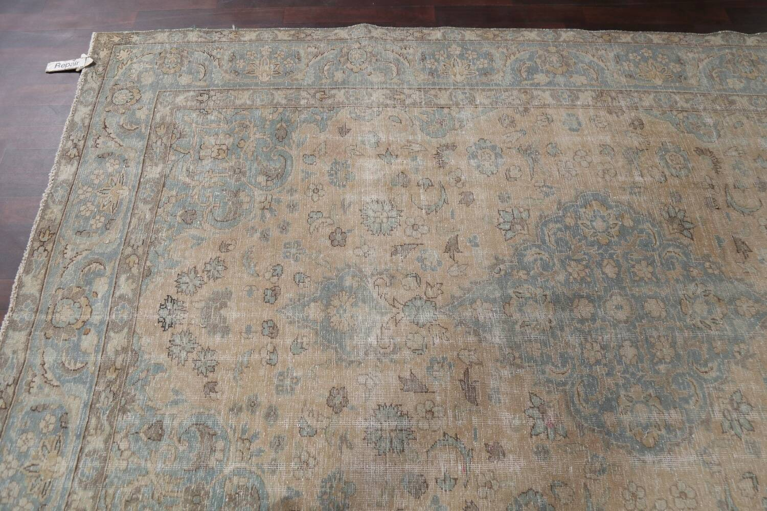 Muted Distressed Mashad Persian Area Rug 7x10 image 13