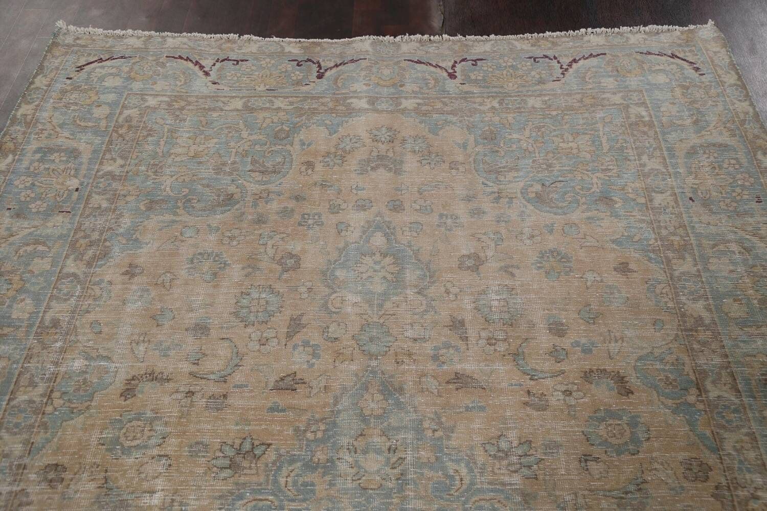 Muted Distressed Mashad Persian Area Rug 7x10 image 15