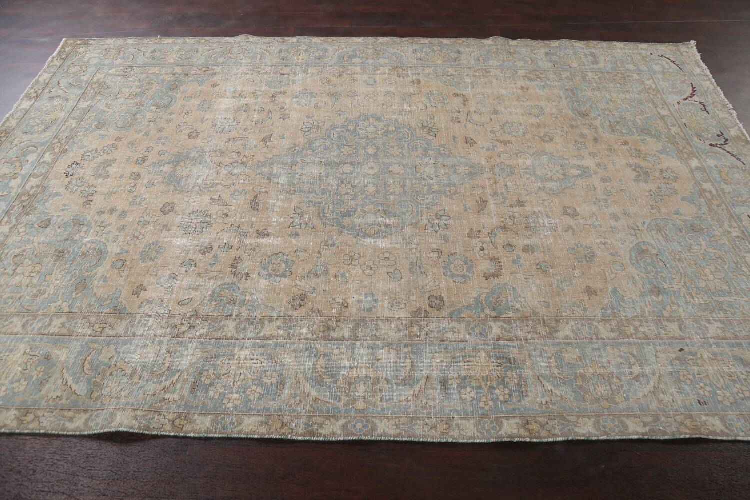 Muted Distressed Mashad Persian Area Rug 7x10 image 17