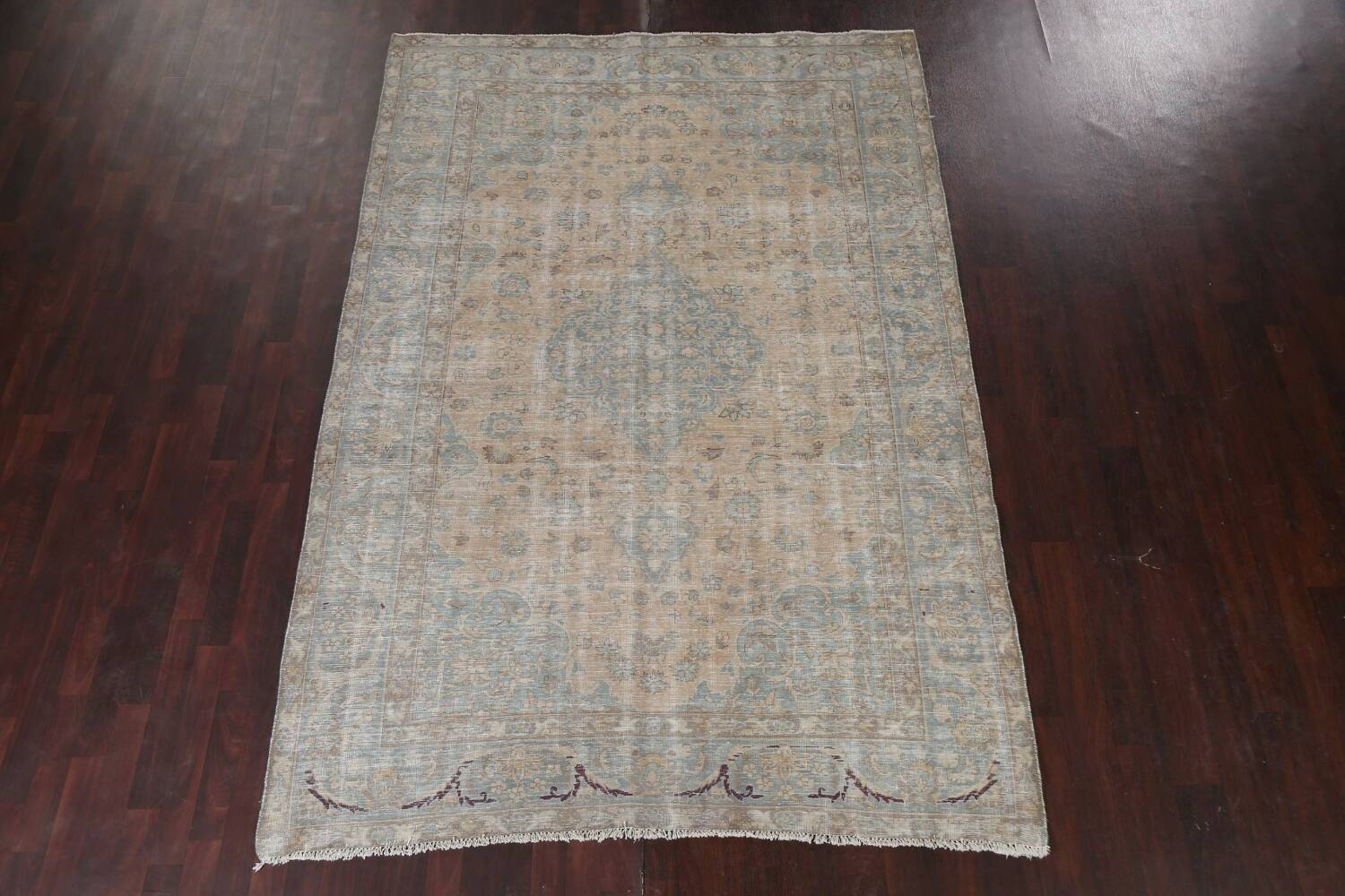Muted Distressed Mashad Persian Area Rug 7x10 image 18