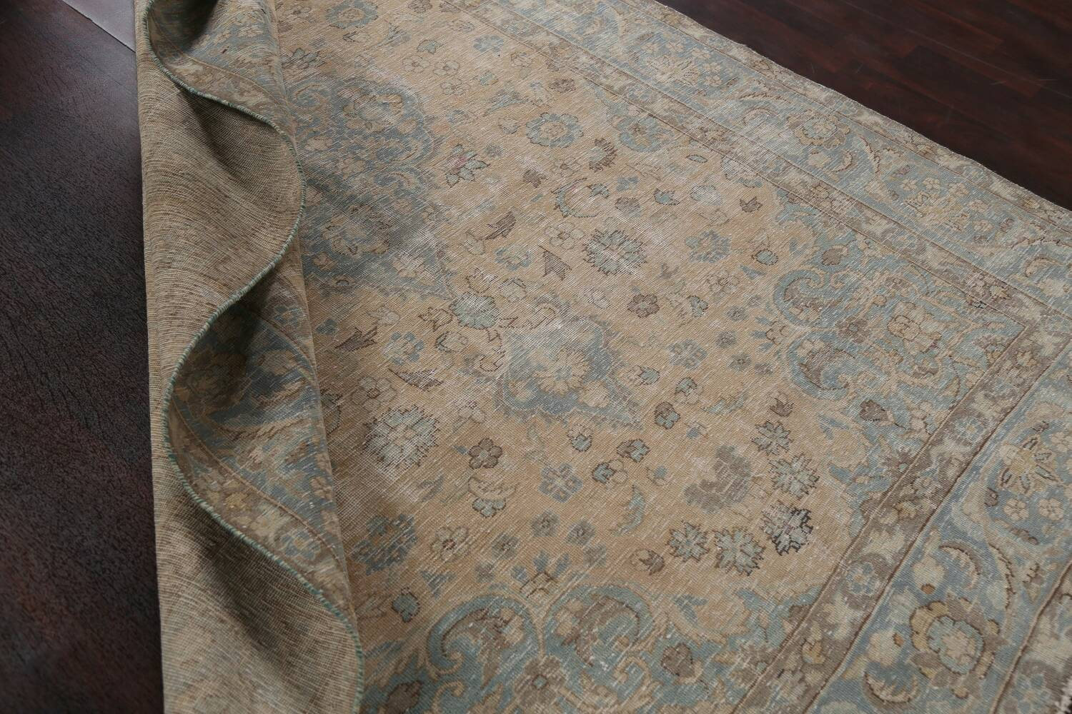Muted Distressed Mashad Persian Area Rug 7x10 image 20