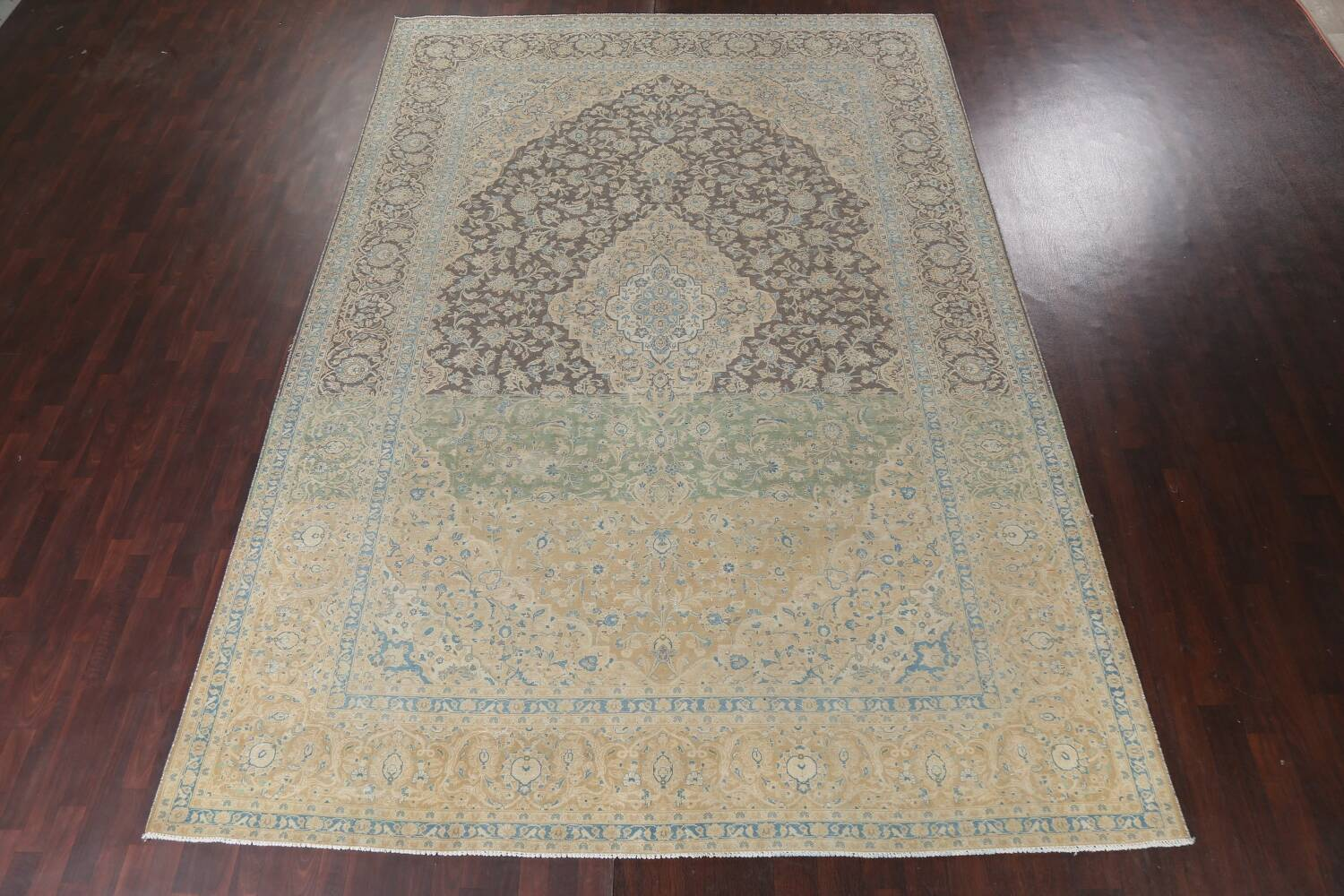 Traditional Distressed Kashan Persian Area Rug 10x14 image 3