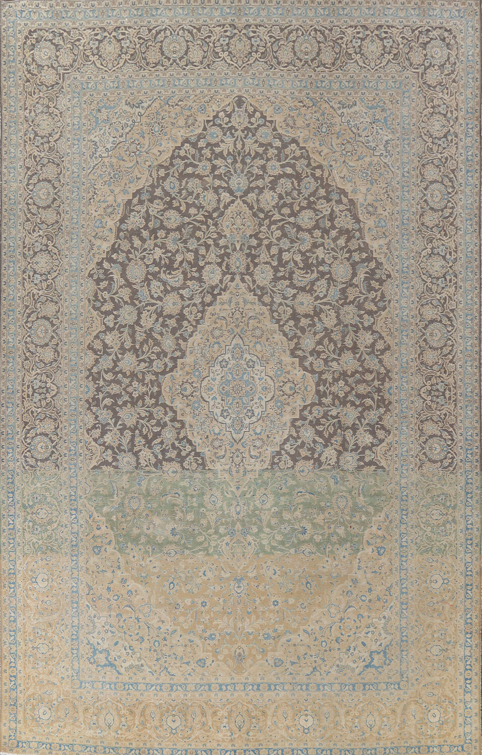 Traditional Distressed Kashan Persian Area Rug 10x14 image 1