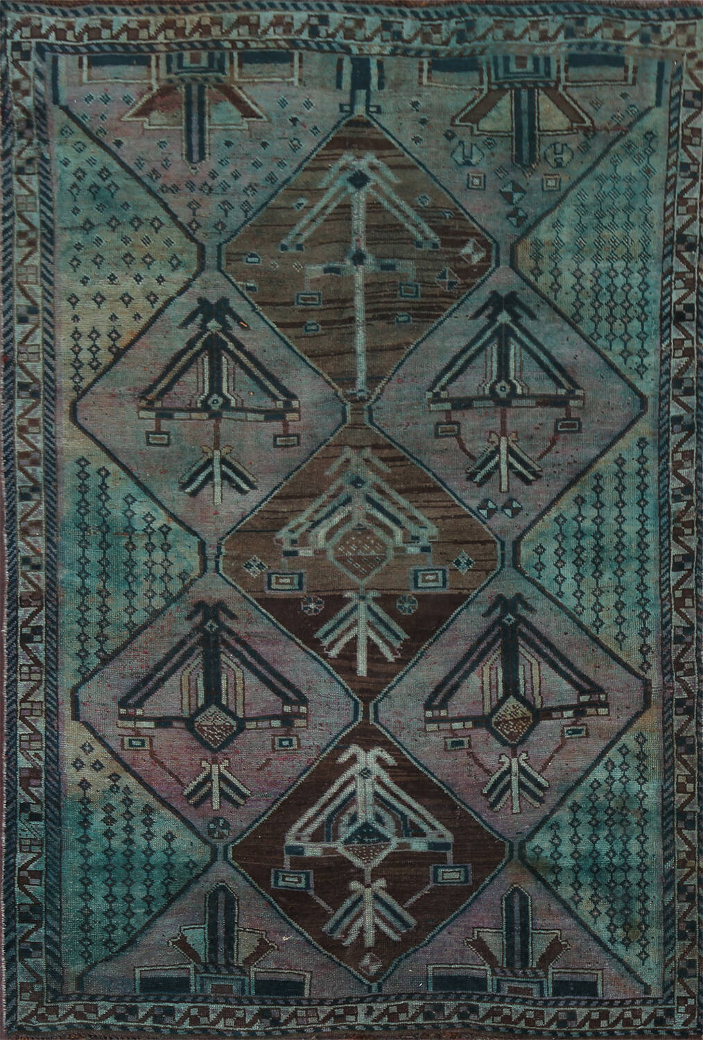 Antique Distressed Over-Dye Shiraz Wool Persian Area Rug 5x8 image 1